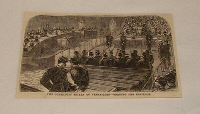 1877 magazine engraving ~ COMMUNIST TRIALS AT VERSAILLES, Paris