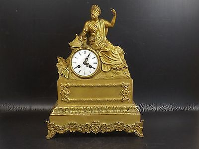 "19th c, Gilt Bronze, DESCHAMPS Paris. ""Académie française"". Figural Mantle Clock"