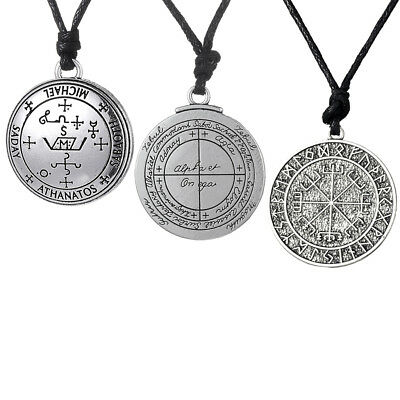 3pcs Ancient Norse Viking Rune Amulet Pendant Necklace Lucky Charms Jewelry
