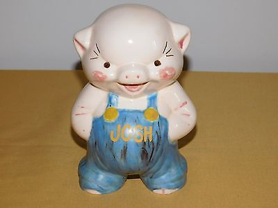 "Vintage 1982  7 1/2"" High Josh Ceramic Pig Bank"