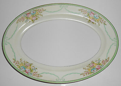 Meito China Porcelain Japan Floral Gold Green Yellow Platter