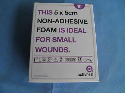 ActiveHeal 5cm x 5cm Non-Adhesive Foam Dressings - Pack of 10 - Sterile - 2019/7