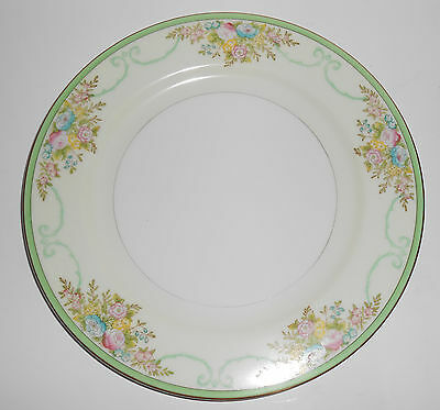 Meito China Porcelain Japan Floral Gold Green Yellow Dinner Plate