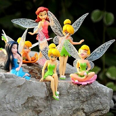 6 PCS Disney Princess Tinkerbell Fairy Action Figure Wing Fairies Cake Topper