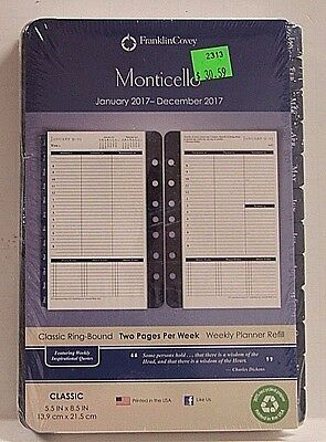 "FranklinCovey 900490 Monticello Weekly Planner Jan - Dec 2017 Refill 5.5"" x 8.5"""