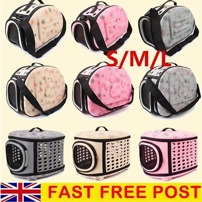 S/M/L Dog Pet Cat Double Zipper Carrying Bag Tote Cage Travel Carrier UK STOCK