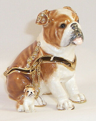 Kingspoint Bliss Bulldog Pewter  Bejeweled Hinged Trinket / Jewelry  Box