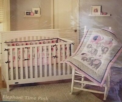 Little Bedding By NoJo Elephant Time Pink/gray Elephant 4-Piece Crib Girl Set