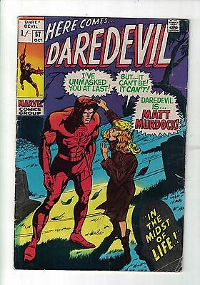 Marvel Comic Daredevil no 57 October 1969