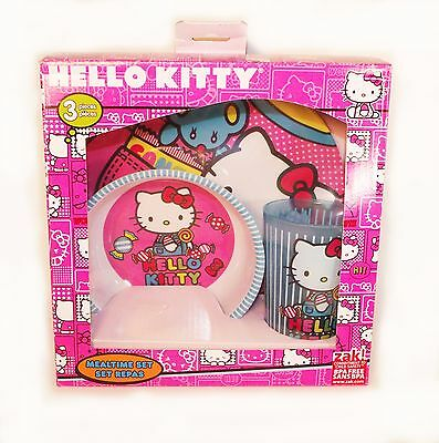 Zak! Hello Kitty Plastic Plate, Bowl and Cup Children's Mealtime Set