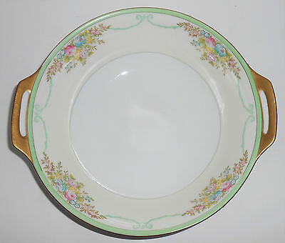 Meito China Porcelain Japan Floral Gold Green Yellow Vegetable Bowl