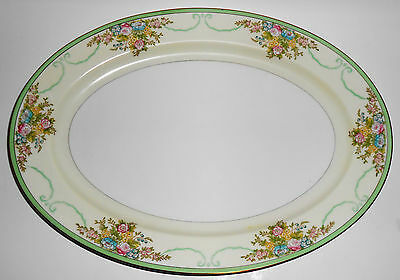 Meito China Porcelain Japan Floral Gold Green Yellow Large Platter