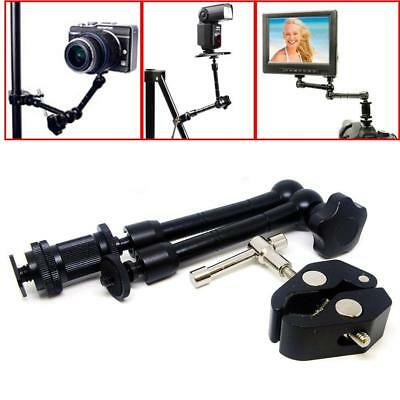 "11"" Inch Articulating Magic Arm + Super Clamp Crab Plier Clip for Camera DSLR MO"