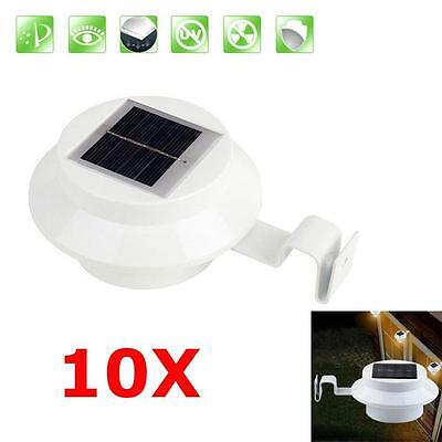 Solar Powered 3 LED Fence Gutter Light Outdoor Garden Yard Wall Pathway Lamp BC