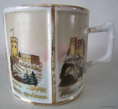 Antique Porcelain MUG 5 Hand Painted CASTLES Europe France ?