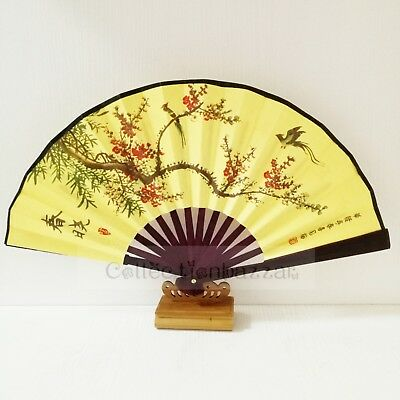 Chinese Bamboo Folding Fabric Hand Fan for Home Decor/ Collection