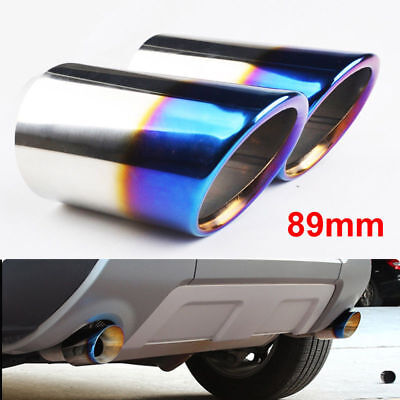 2× 89mm Blue Stainless Steel Exhaust Rear Muffler Tail pipe Ford Kuga 2013-2014