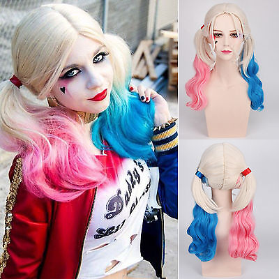 Batman Suicide Squad Harley Quinn Wigs Pink Blue Gradient Hair Anime Cosplay