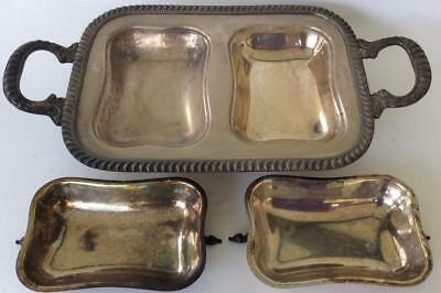 Antique~Silver Double covered serving bowl Dish Gadroon Edge~Signed