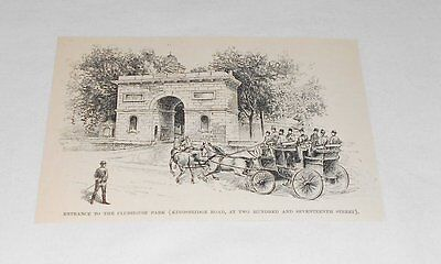 1895 magazine engraving ~ ENTRANCE TO CLUBHOUSE PARK, New York