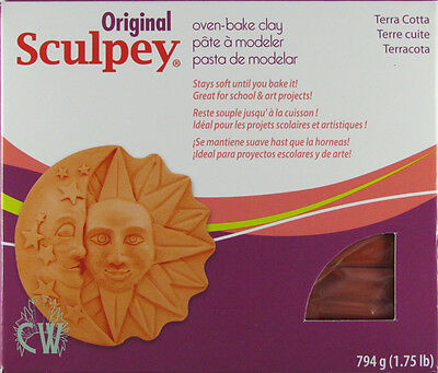 Large Terracotta Sculpey Polymer Oven Clay 794g Block. For Art & craft Modelling