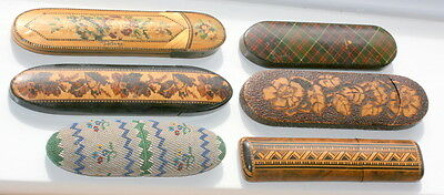 6 x RARE SPECTACLES EYEGLASSES CASE ETUI ALL IN GOOD CONDITION, TARTAN WARE