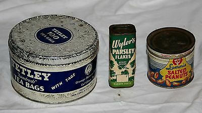 VINTAGE LOT OF 3 COLLECTIBLE ADVERTISING TINS TETLEY TEA 1940's PEANUT WYLER'S