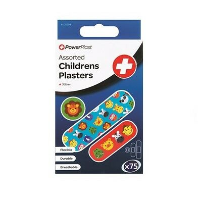 Pack Of 75 Children Plasters Kids Durable Breathable Fun Design First Aid