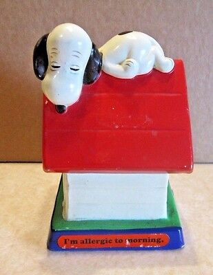 "Vintage 1971 Snoopy On Dog House Figure, ""I'm Allergic To Morning"" figurine"
