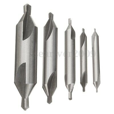 5Pcs 60° HSS Combined Spotting Center Drills Bit Countersinks Angle Set Tool