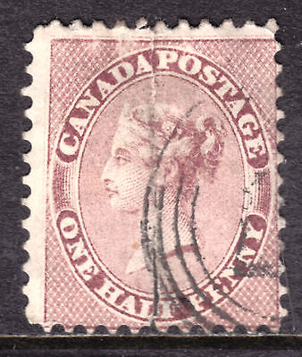 CANADA #11 1/2d ROSE, 1858 PENCE FIRST PERFORATE, VG, 4-RING NUMERAL