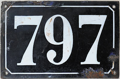 Large old black French house number 797 door gate plate plaque enamel metal sign