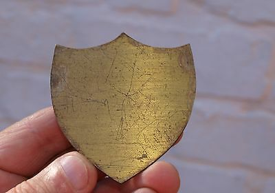 Quality Antique Large Reclaimed Brass Plaque Cartouche Writing Slopes Boxes Etc