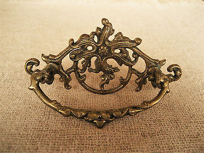 Antique Solid Brass Ornate Plate And Bail Pull Handle Drawer Hardware