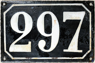 Large old black French house number 297 door gate plate plaque enamel metal sign