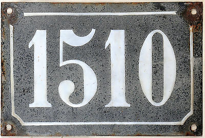 Large old black French house number 1510 door gate wall plate enamel metal sign