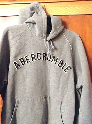 Mens Sz Xl Hoodie Abercrombie Fitch Grey Hooded Jacket Coat Big Pullover Sweat S