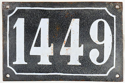 Large old black French house number 1449 door gate wall plate enamel metal sign