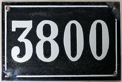 Large old black French house number 3800 door gate wall plate enamel metal sign