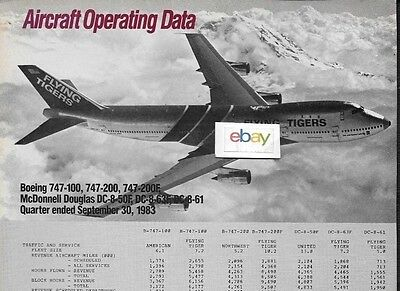 Flying Tigers Boeing 747-100 Aircraft Operating Data Comparisons Aa Nwa Ual Dc-8