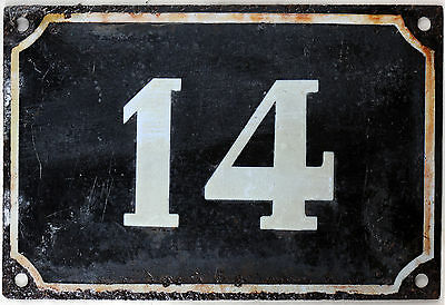 Large old black French house number 14 door gate plate plaque enamel metal sign
