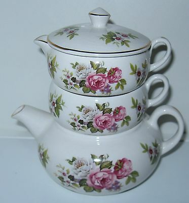 Foley Harmony Rose Mini Stacking Teapot, Creamer and Sugar