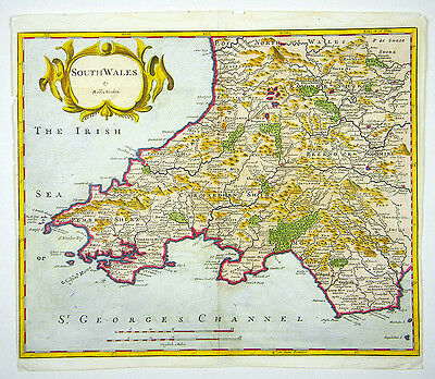 Robert Morden South Wales Uk Copper Engraving Map Kupferstich Karte #d966Ws