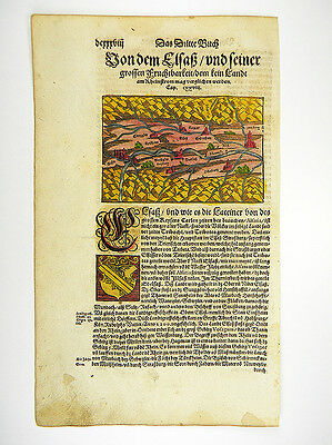 Elsass Alsace Rhine Strasbourg Xylographie Cosmographia S. Münster 1598 #d981S