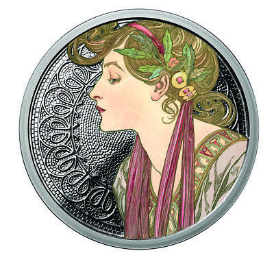 Alphonse Mucha Laurel Colorized 1 Oz Silver Coin #6 In Series Collection # Coa