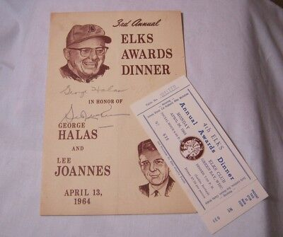 George Halas Bears & Lee Joannes Packers Autograph Elks 1964 T*