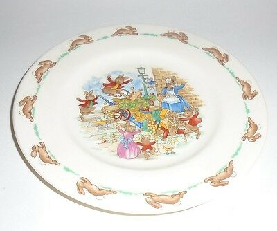 """Royal Doulton Bunnykins 6-5/8"""" Bread Plate with Upset Vegetable Cart"""