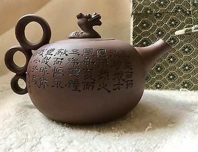 New Unused Authentic HandCrafted YiXing Zisha Clay Teapot, 3 Ring Dragon in Box