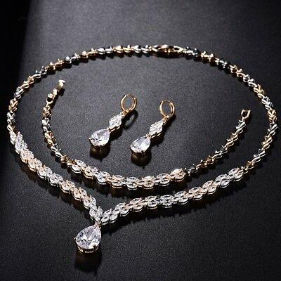 Fashion Women Sapphire Crystal Stud Earring Charm Wedding Necklace Chain Set