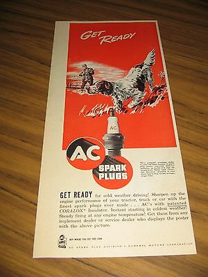 1949 Print Ad AC Spark Plugs Hunter & Hunting Dog in the Field